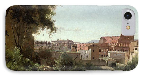 View Of The Colosseum From The Farnese Gardens IPhone Case by Jean Baptiste Camille Corot