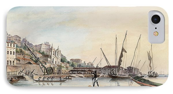 View Of The Dockyard, At Bahia Or San Salvador  IPhone Case by Thomas L Hornbrook