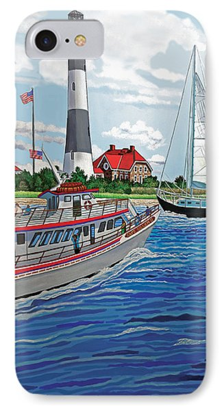 View Of The Fire Island Lighthouse From The Great South Bay IPhone Case by Bonnie Siracusa