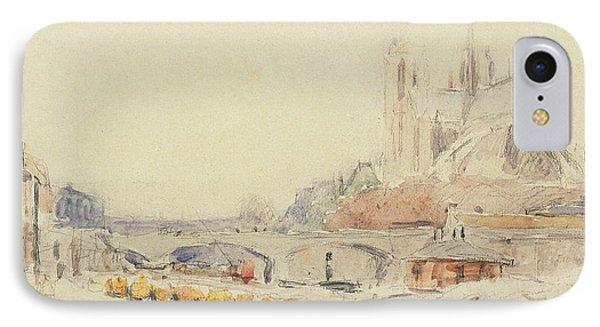 View Of The Pont De La Tournelle And Notre-dame De Paris IPhone Case by Albert Charles Lebourg