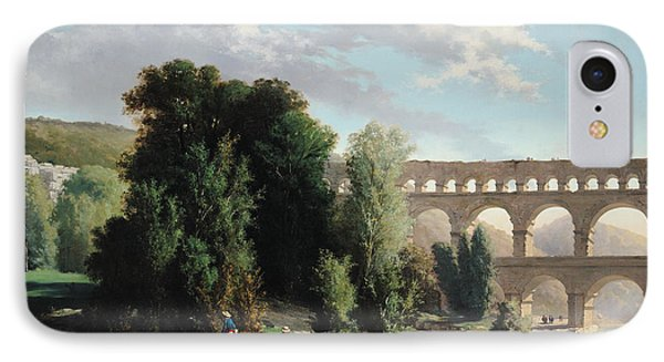 View Of The Pont Du Gard Phone Case by Henri Marie Poinsot