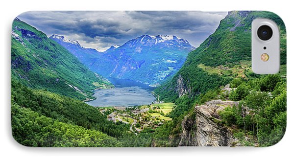 IPhone Case featuring the photograph View On Geiranger From Flydalsjuvet by Dmytro Korol