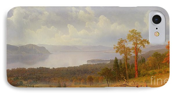 View On The Hudson Looking Across The Tappen Zee Towards Hook Mountain IPhone Case by Albert Bierstadt