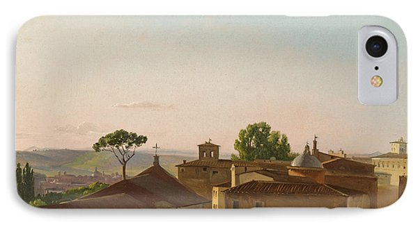 IPhone Case featuring the painting View On The Quirinal Hill. Rome by Simon Denis