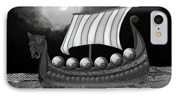 IPhone Case featuring the digital art Viking Ship_bw by Megan Dirsa-DuBois
