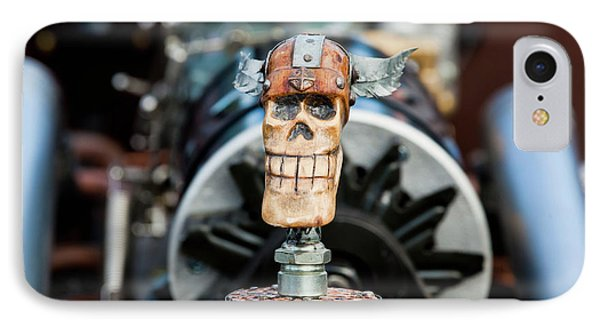 IPhone Case featuring the photograph Viking Skull Hood Ornament by Chris Dutton