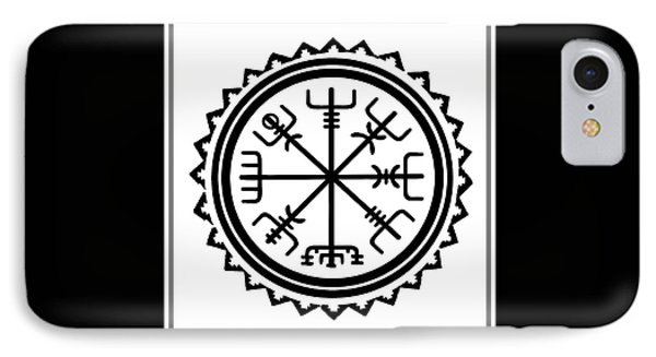 IPhone Case featuring the digital art Viking Vegvisir Protection Compass by Vagabond Folk Art - Virginia Vivier