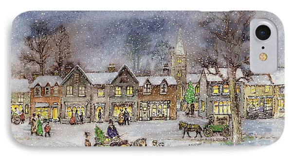 Village Street In The Snow Phone Case by Stanley Cooke