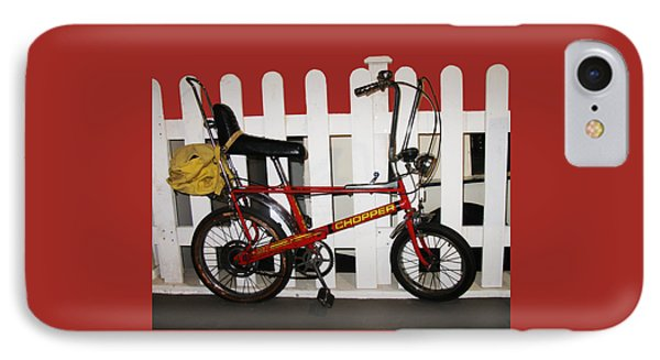 Vintage 1970s Bike With Rucksack  IPhone Case by Tom Conway