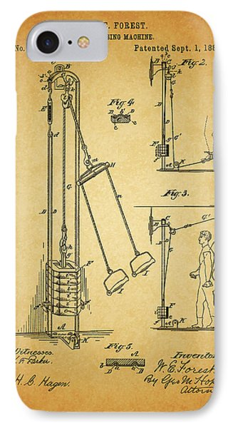 Vintage 1885 Exercising Device Patent IPhone Case by Dan Sproul