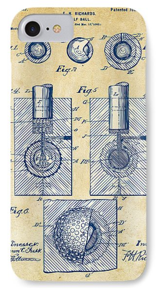 Vintage 1902 Golf Ball Patent Artwork IPhone Case by Nikki Marie Smith