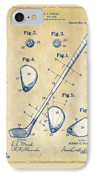 Golf iPhone 7 Case - Vintage 1910 Golf Club Patent Artwork by Nikki Marie Smith