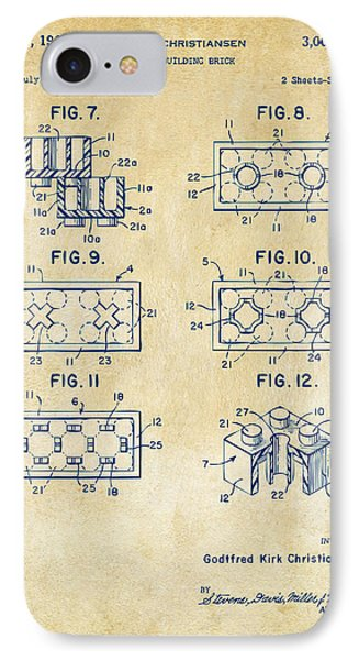 Vintage 1961 Lego Brick Patent Art IPhone Case by Nikki Marie Smith
