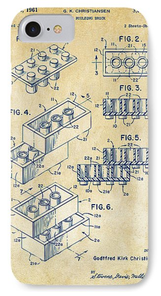 Vintage 1961 Toy Building Brick Patent Art Phone Case by Nikki Marie Smith