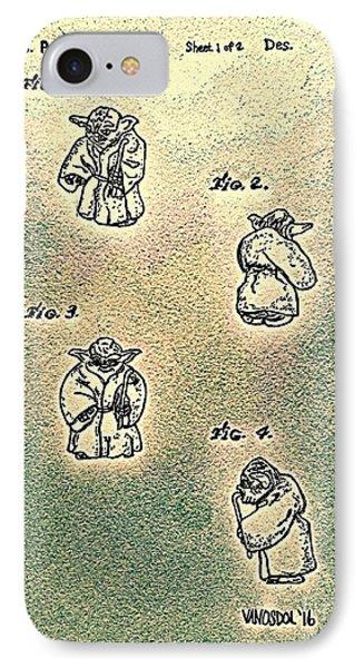 Vintage 1982 Star Wars Yoda Patent - Abstract IPhone Case by Scott D Van Osdol