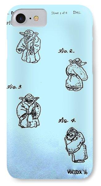 Vintage 1982 Star Wars Yoda Patent - Blue IPhone Case by Scott D Van Osdol