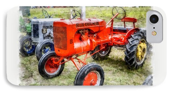 Vintage Allis-chalmers Tractor Watercolor IPhone Case by Edward Fielding