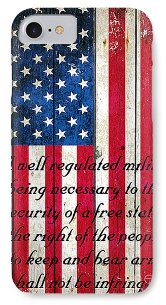 Vintage American Flag And 2nd Amendment On Old Wood Planks IPhone Case by M L C
