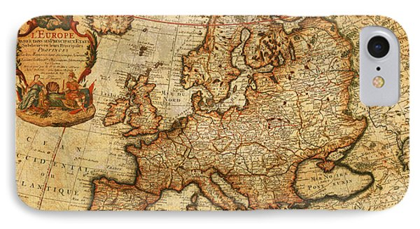 Vintage Antique Map Of Europe French Origin Circa 1700 On Worn Distressed Parchment Canvas IPhone Case by Design Turnpike