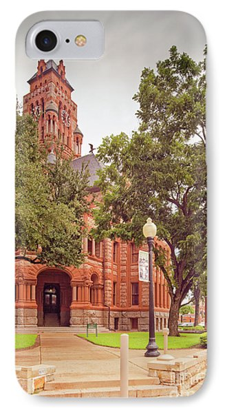 Vintage Architectural Image Of The Ellis County Courthouse - Waxahachie North Texas IPhone Case by Silvio Ligutti