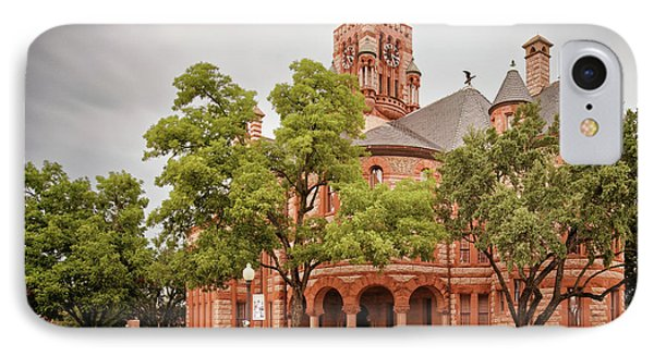 Vintage Architectural Photograph Of The Ellis County Courthouse In Waxahachie - North Texas IPhone Case by Silvio Ligutti