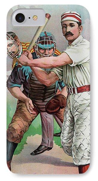 Softball iPhone 7 Case - Vintage Baseball Card by American School