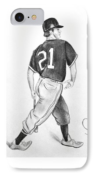 Vintage Baseball Player - Drawing IPhone Case
