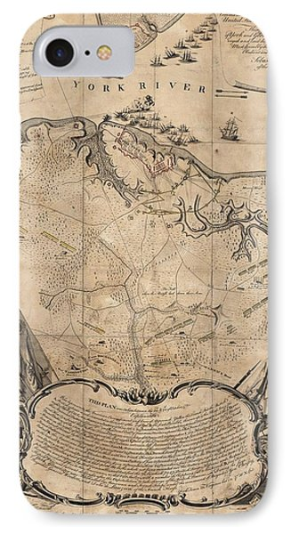 Vintage Battle Of Yorktown Virginia Map - 1781 IPhone Case by CartographyAssociates