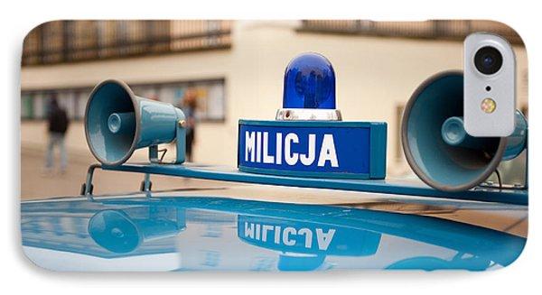 Vintage Blue Militia Car Cherry IPhone Case by Arletta Cwalina