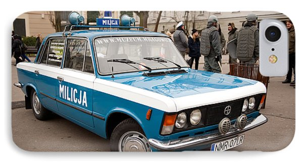 Vintage Blue Militia Car View IPhone Case by Arletta Cwalina
