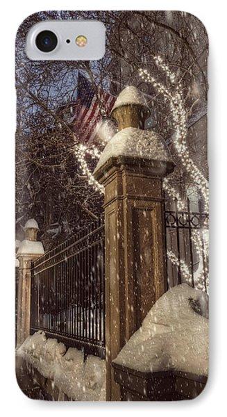 Vintage Boston Sidewalk In Winter IPhone Case by Joann Vitali
