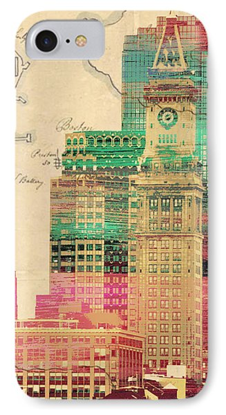 Vintage Boston Skyline IPhone Case by Brandi Fitzgerald