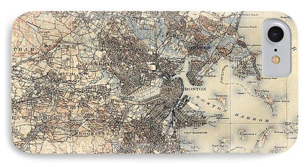 Vintage Boston Transit Line Map - 1914 IPhone Case