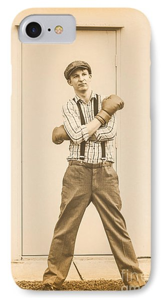 Vintage Boxer Ready For Action IPhone Case by Jorgo Photography - Wall Art Gallery
