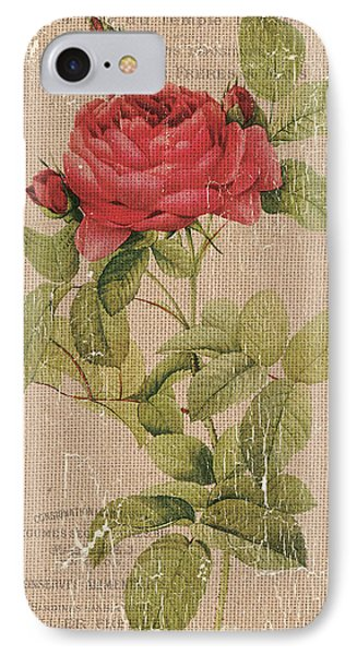 Vintage Burlap Floral IPhone Case by Debbie DeWitt