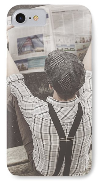 Vintage Businessman Reading Business News IPhone Case by Jorgo Photography - Wall Art Gallery