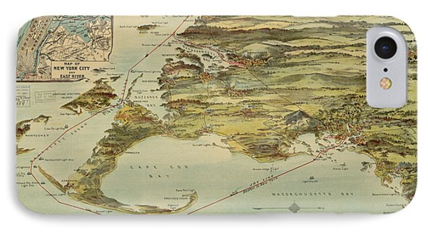 Vintage Cape Cod And Nyc Steamboat Route Map IPhone Case by CartographyAssociates