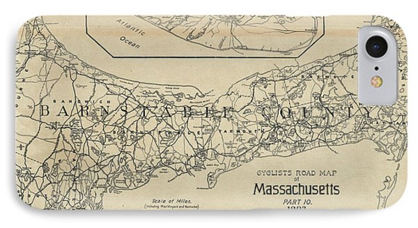 Vintage Cape Cod Cyclist Map - 1893 IPhone Case by CartographyAssociates