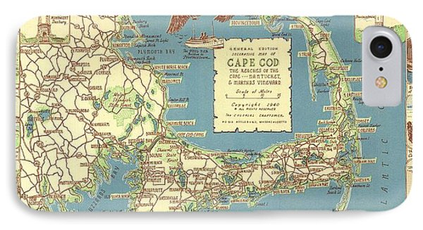 Vintage Cape Cod Map  IPhone Case by CartographyAssociates