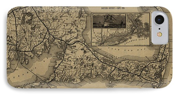 Vintage Cape Cod Railroad Map  IPhone Case by CartographyAssociates