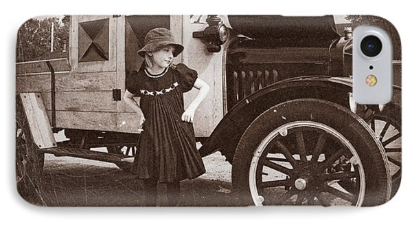 Vintage Car And Old Fashioned Girl Phone Case by Shawna Mac