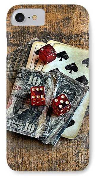 Vintage Cards Dice And Cash Phone Case by Jill Battaglia