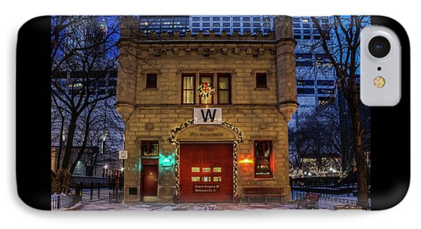 Vintage Chicago Firehouse With Xmas Lights And W Flag IPhone Case by Sven Brogren