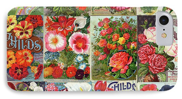 Vintage Childs Nursery Flower Seed Packets Mosaic  IPhone Case by Peggy Collins