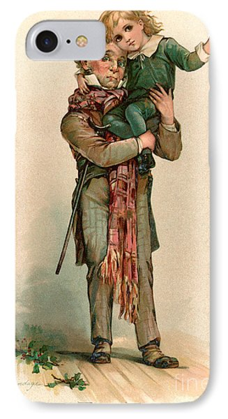 Vintage Christmas Card Depicting Bob Cratchit Carrying Tiny Tim IPhone Case by Frances Brundage