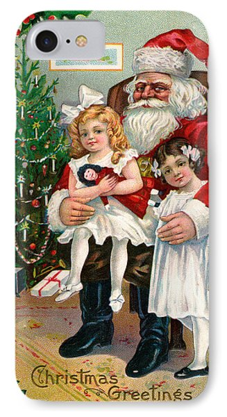 Vintage Christmas Card Depicting Two Victorian Girls With Santa Claus IPhone Case by American School