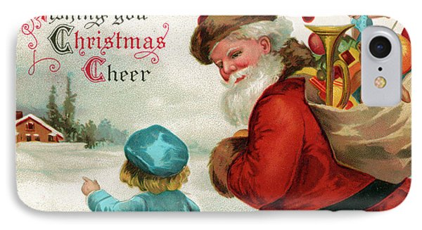 Vintage Christmas Card IPhone Case by Ellen Hattie Clapsaddle