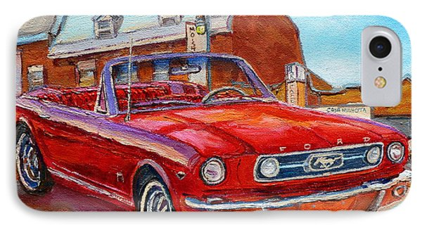 Vintage Classic Cars Paintings Red Mustang At The Diner Montreal Canadian Art Carole Spandau         IPhone Case