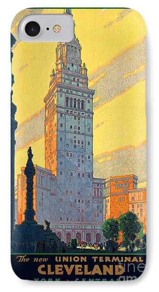 Vintage Cleveland Travel Poster IPhone Case by George Pedro