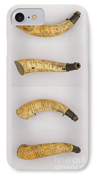 IPhone Case featuring the photograph Vintage 1767 Colonial American Powder Horn Four Views by John Stephens